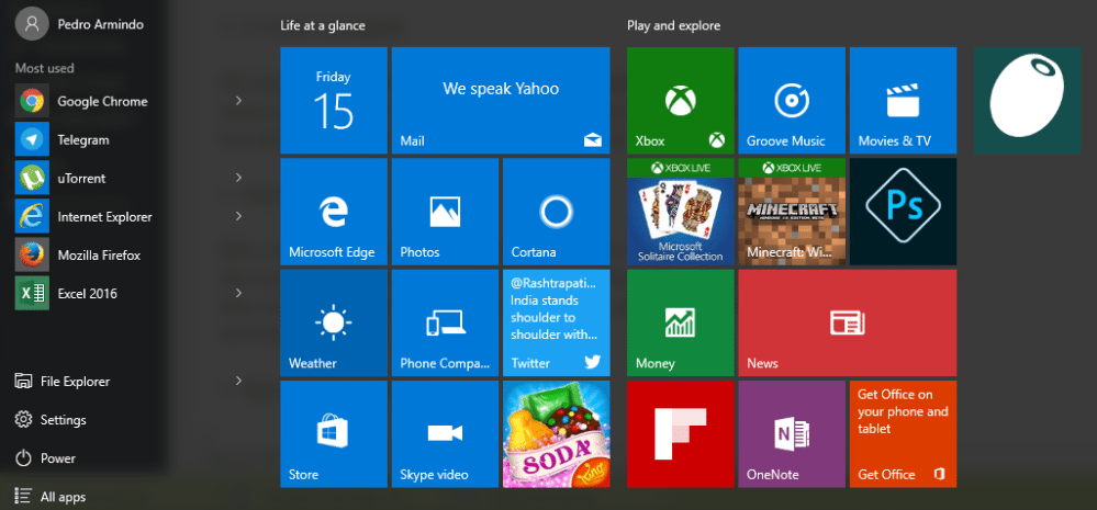 menu iniciar windows 10
