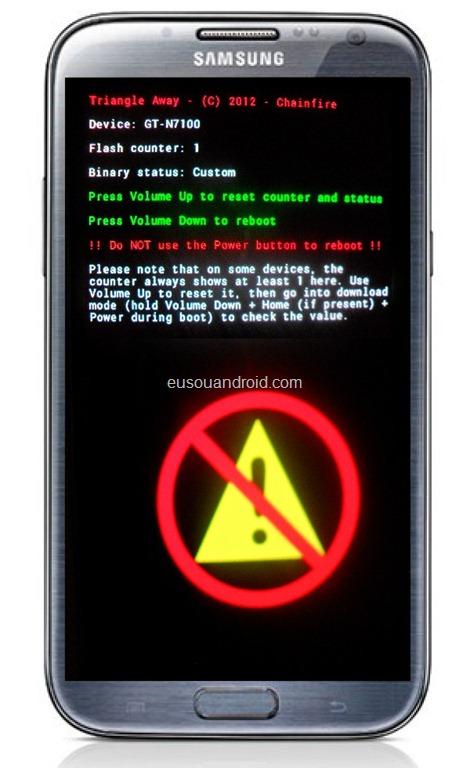 ... Triangle Away e resetar o contador de firmware do Galaxy Note 2 N7100